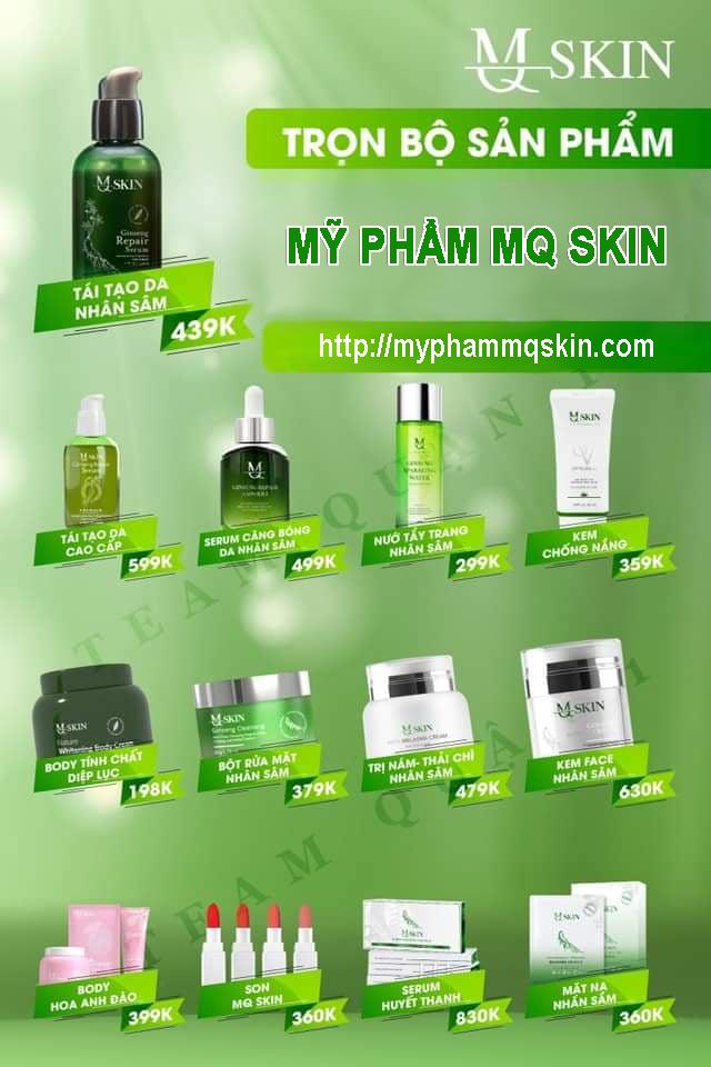 Bảng giá bán buôn - bán lẻ mỹ phẩm MQ Skin